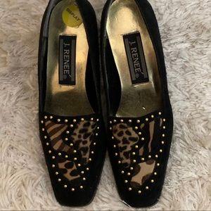 J Renee Leopard Calf Hair Block Heels